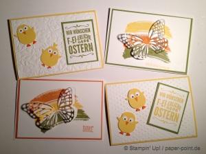 Karten Küken und Schmetterling