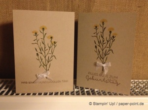 Grußkarte Blume mit Schleife